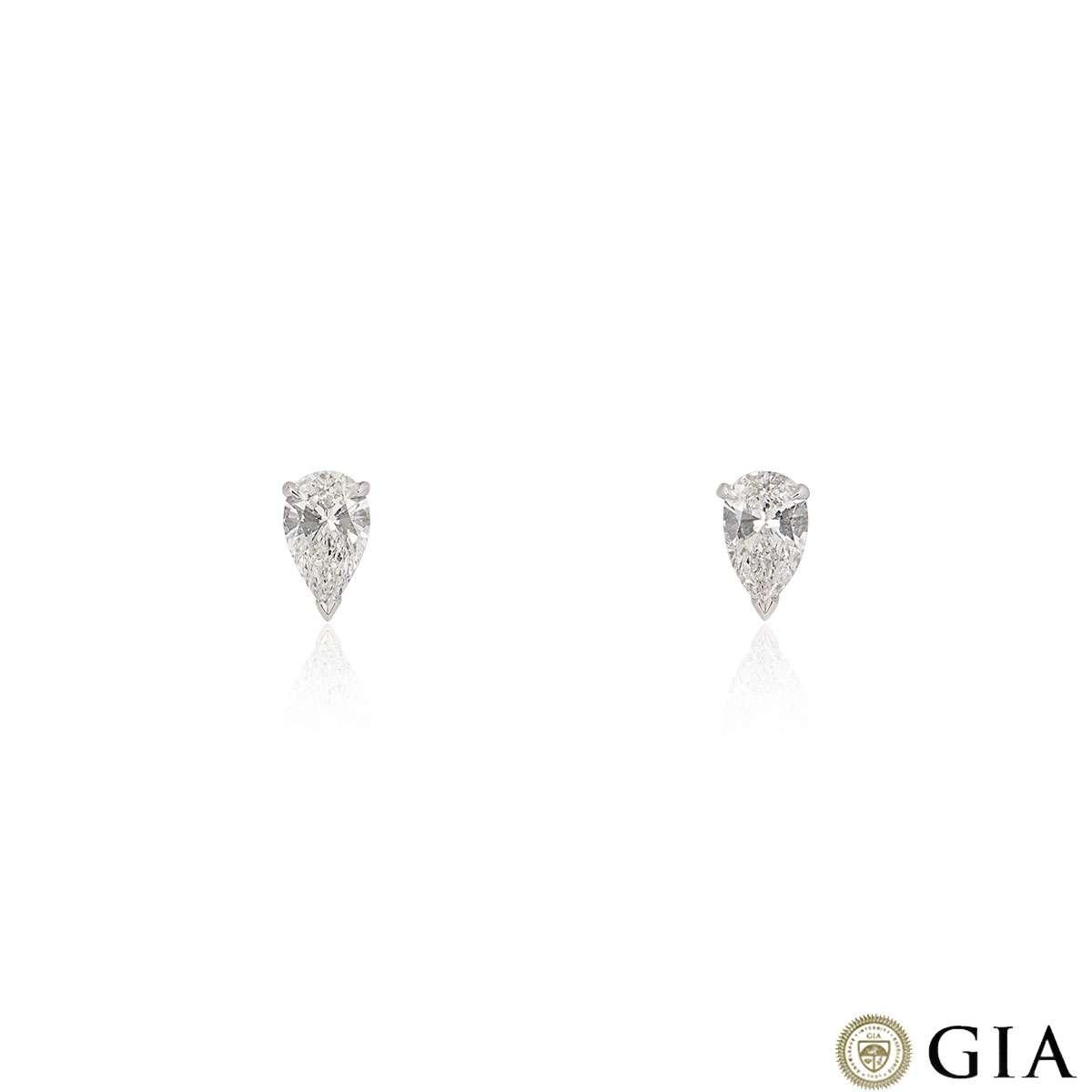 White Gold Pear Cut Diamond Earrings 2.38ct TDW